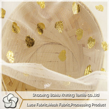 Gold stamp post processing gold heart polyester mesh fabric