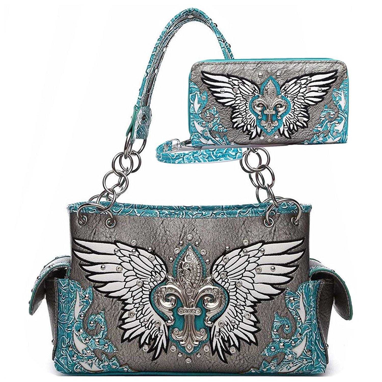 abda9d34e2b4 Get Quotations · Western Fleur de Lis Wings Shoulder Bag Women Concealed  Carry totes bag Handbags and Purses