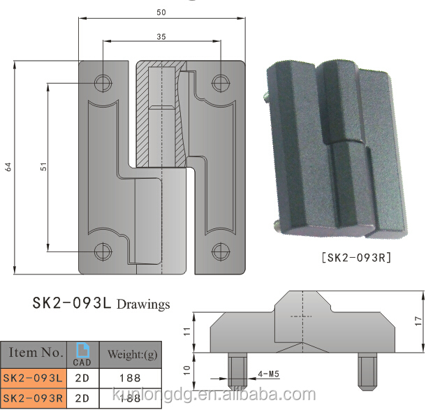SK2-093 China Wholesale Industrial Hinge Zinc Alloy Black Plated Hinge