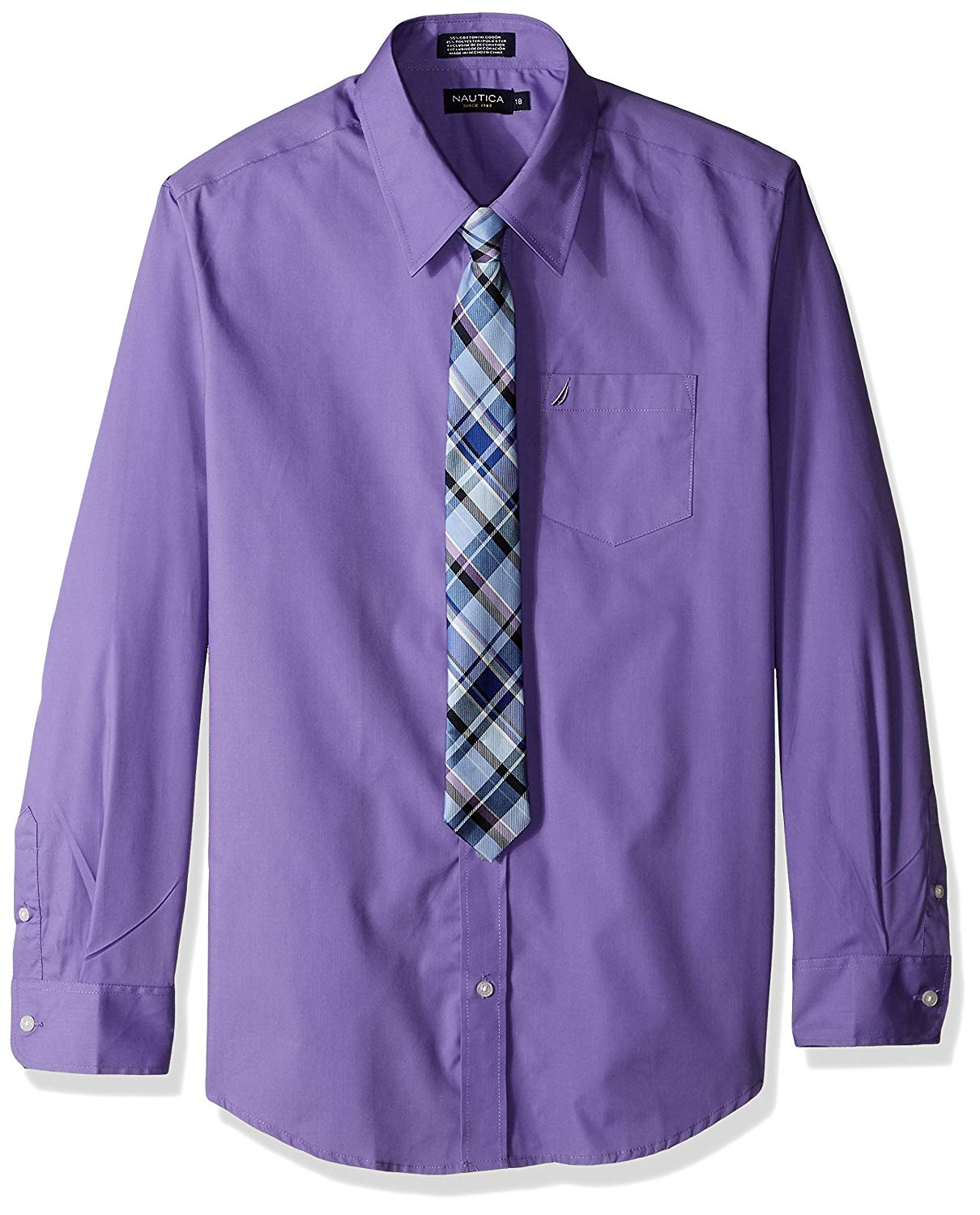 Buy George Boys Solid Broadcloth Shirt With Holiday Tie Set In Cheap