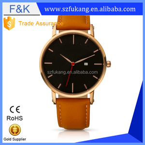 Fukang leather vintage trendy men sub-dial Fashion Custom Face minimalist watch