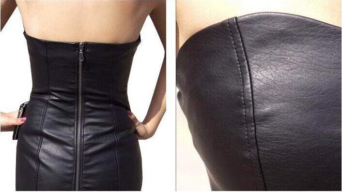 3adb38d4a6 Sexy Black Faux Leather Pencil Bodycon Boob Tube Strapless Mini Dresses  Summer Zipper Women Clabwear Midi Prom Dress Shapewear SIZE