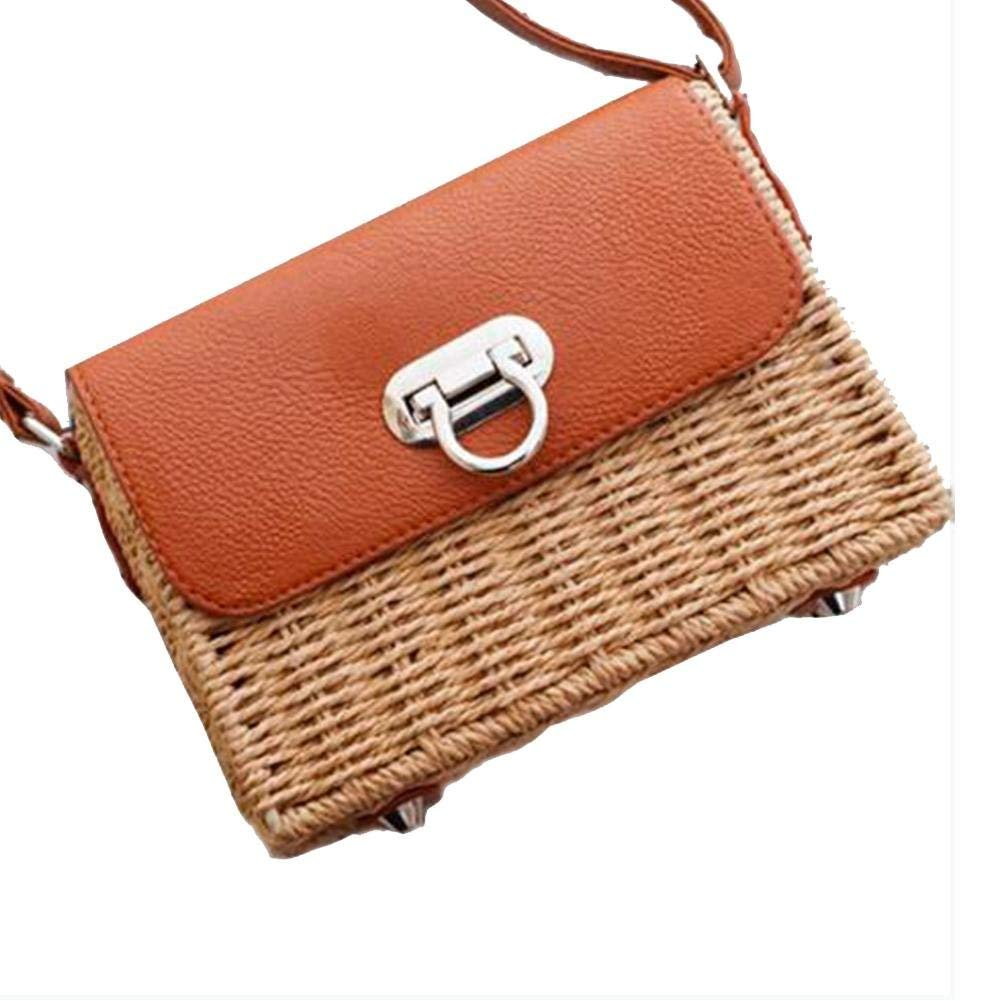 LianLe Summer Beach Bag,Straw Braided Bag, 3 Types Single-Shoulder Messenger Bag Straw Braided Beach Bag Woven Bag for Girl Women
