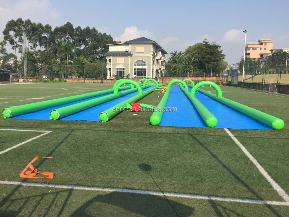 crazy inflatable long water slide for sale/three lanes slip n slide inflatable water slide for adults/slip n slide for adult