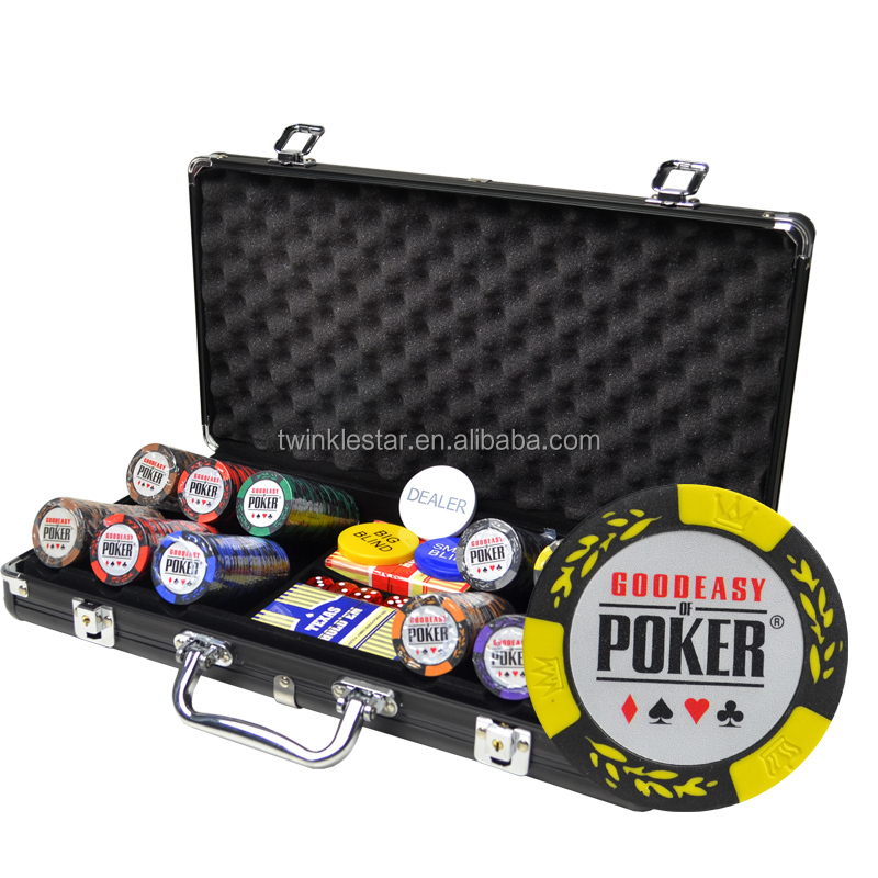 300 PC 11.5g Chips Las Vegas Poker Set 2 Deck Of Cards 5 Dice Gloss Case New