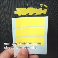 Custom Blank Yellow Destructible Vinyl Label Roll, Yellow Blank Self Destructive Vinyl Stickers in Rolls For Variable Data Print