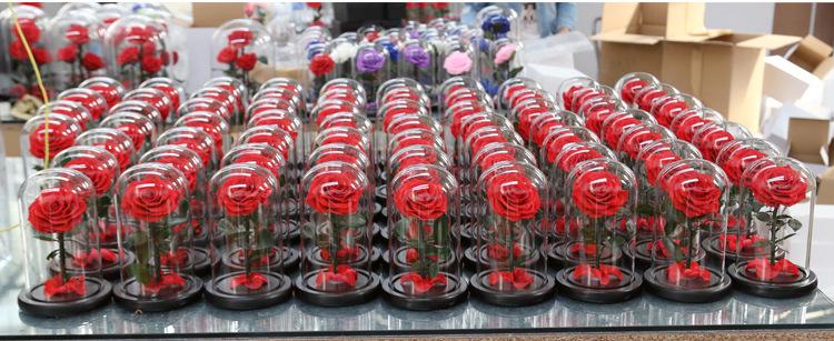 2019 ホット販売カラフルな保存ローズ Led ガラスドームとバレンタインデーのためのギフトボックス