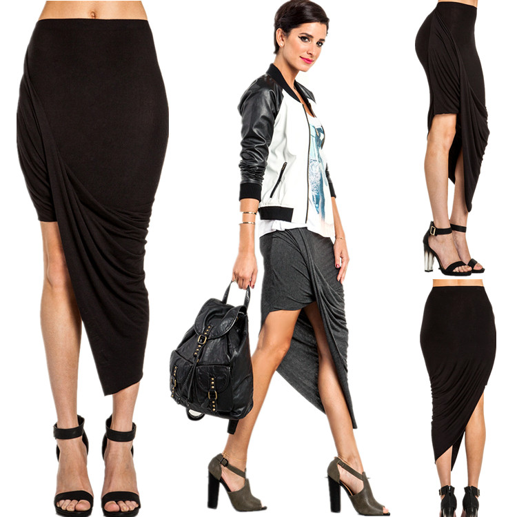 89afc3840b22 Get Quotations · Women Modal Skirts Asymmetrical Folds skirt European    American star magazine same models Brand New Irregular