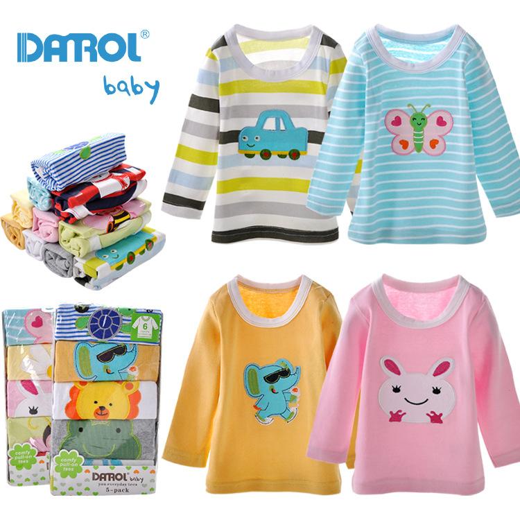 5 шт. много мальчиков девочек майка DANROL мультфильм вышитые шею длинным рукавом хлопок детского детские футболки