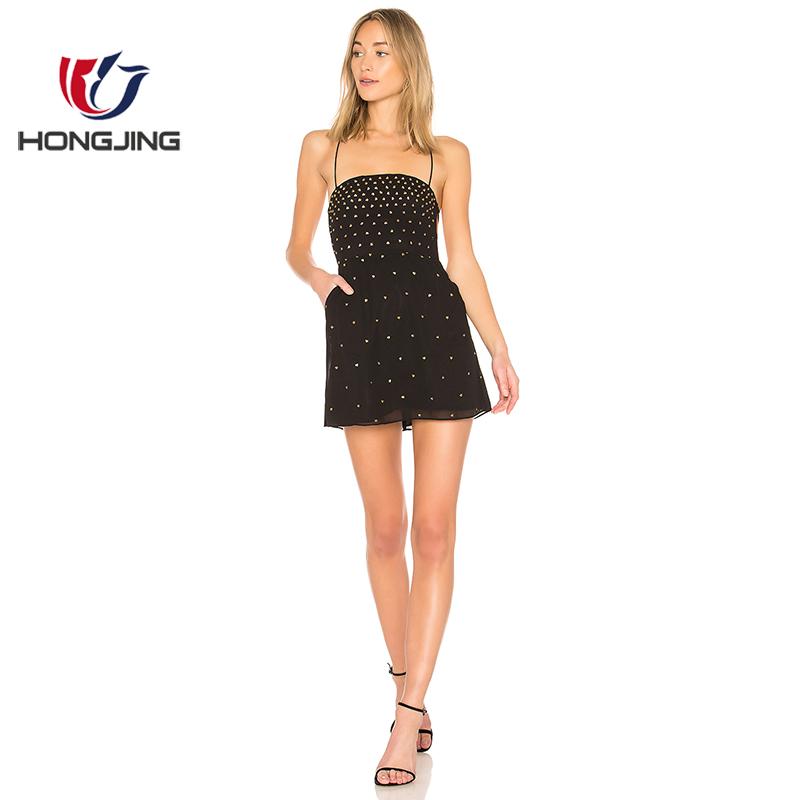 03dc0656720808 Vrouwen dragen Allover sequin borduren Side slant pockets Terug tie-up  detail Volledig lijn terug