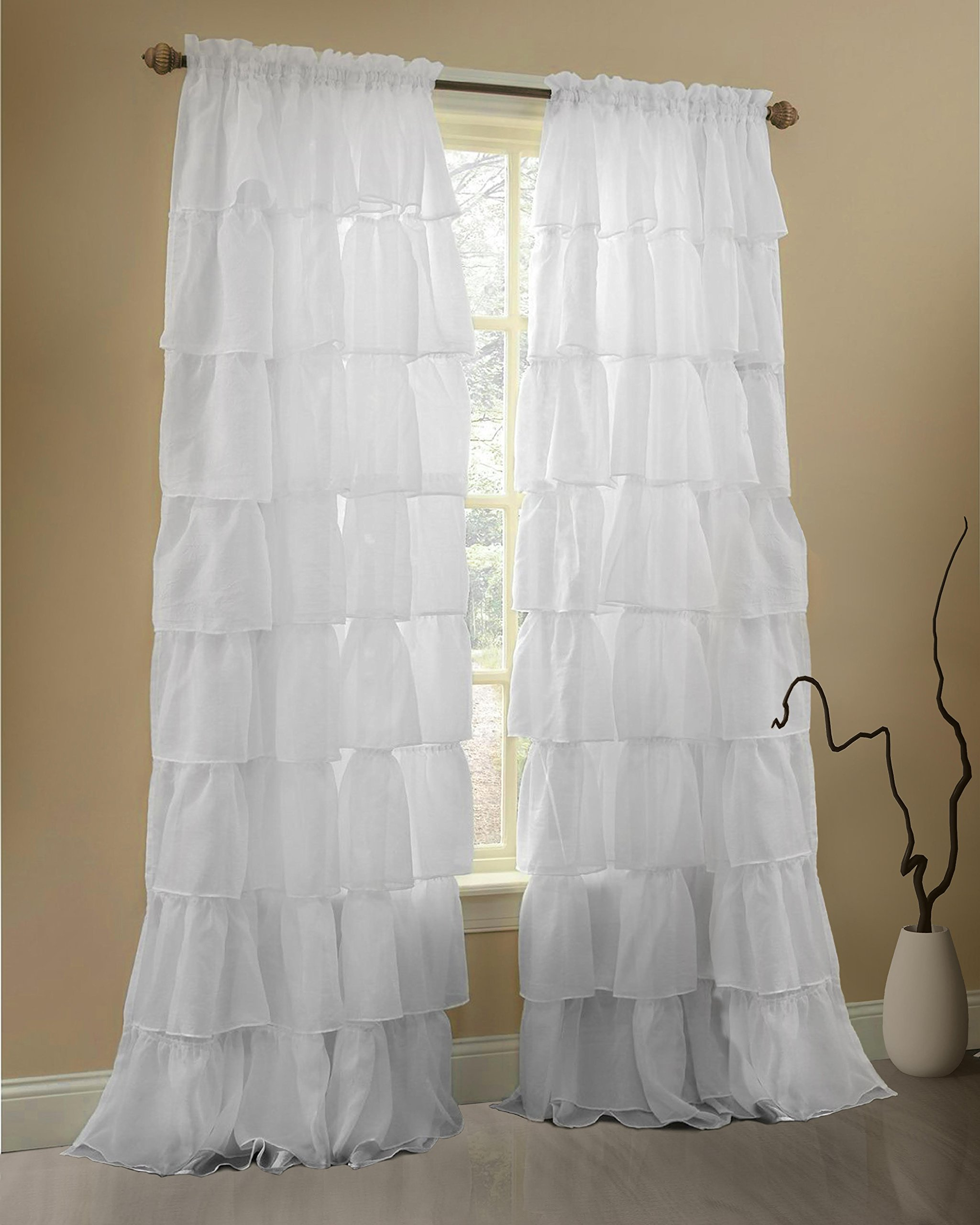 Gee Di Moda White Ruffle Curtains Gypsy Lace Curtains for Bedroom Curtains for Living Room - White 60x84 inch Ruffled Curtains for Kids Room Shabby Chic Curtain for Nursery Kids Curtains for Girls