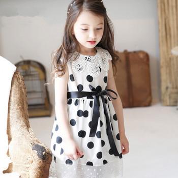 2e71a18184 Gola de renda MS61544K coreano moda infantil meninas 2016 vestido de  bolinhas