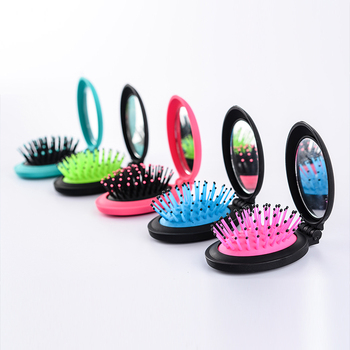 Portable round shape cosmetic high quality wholesale cheap folding hair brush with mirror set for promotion