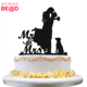 Cake Topper with Dog Pet ,Mr & Mrs Bride and Groom Silhouette Custom funny wedding cake topper