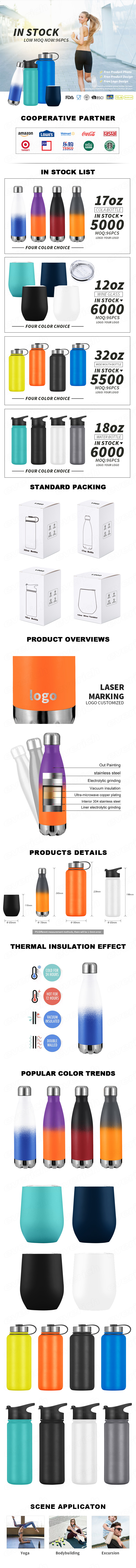 Cheap promotional In stock 500ML cola shape  stainless steel  double wall insulated sport water bottle ready to ship