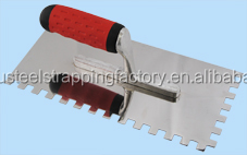 notched stainless steel plastering trowel