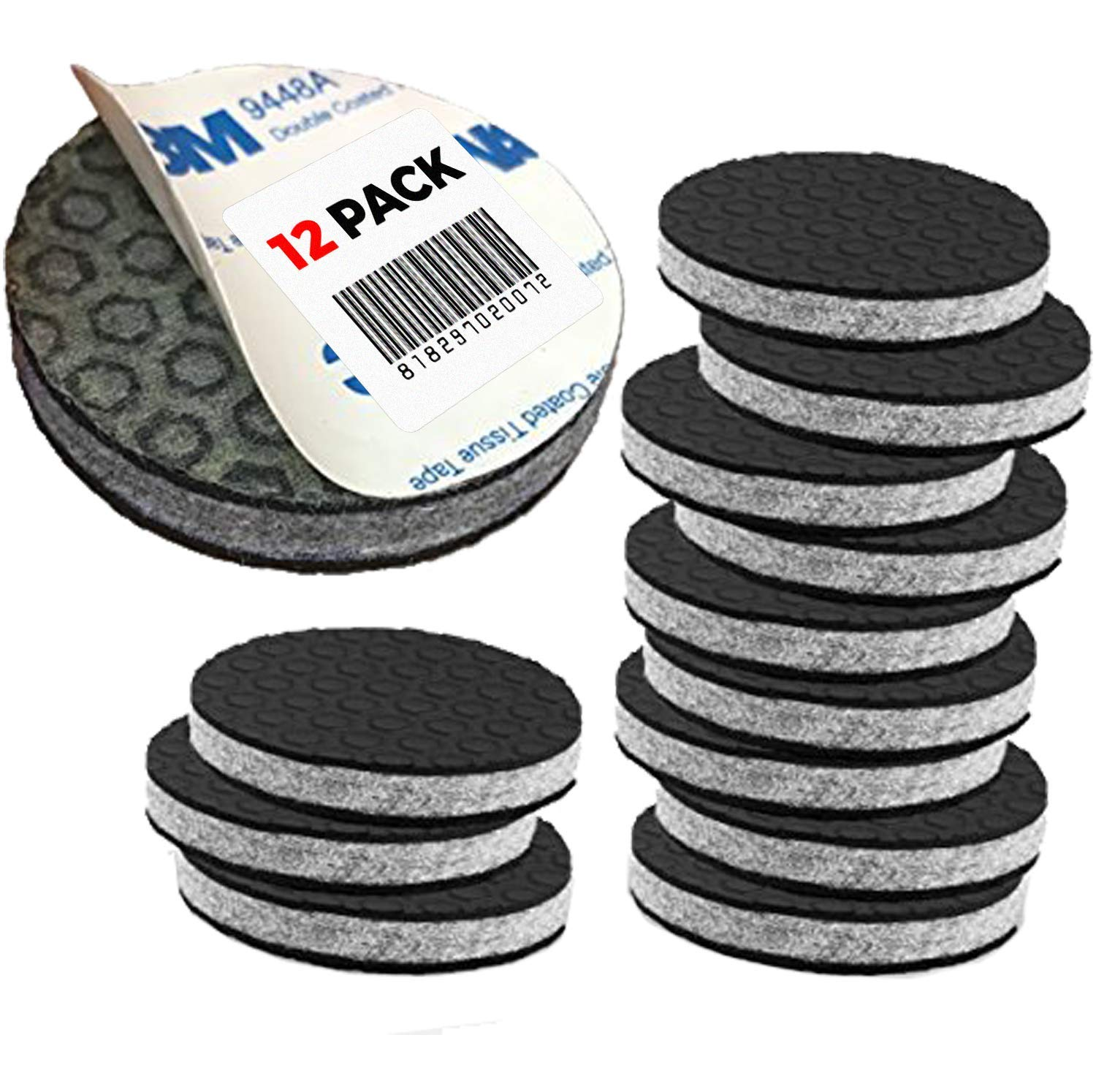 """SlipToGrip"" Non Slip Furniture Pad Grippers - 2"" Round with Adhesive Side - Furniture Non-Slip Pads with 3/8"" Heavy Duty Felt Core. No Nails. Patent Pending (12 Pack)"