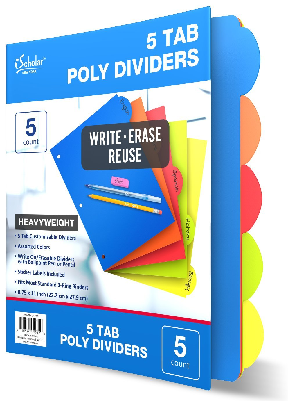 """iScholar 5 Tab Poly Index Dividers, 8.75 x 11"""", Assorted Colors (31205)"""
