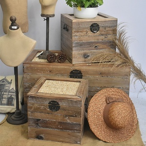 Set of 3 Vintage Farmhouse wooden Crate Trunk Box,Rustic Home Goods Wooden Storage Trunk Chest with Bamboo Top