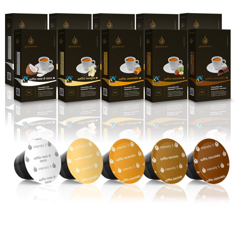 Gourmesso Flavor Bundle - 100 Nespresso Compatible Coffee Capsules 100% Fair Trade | Includes Vanilla Caramel Chocolate Hazelnut Coconut Flavored Espresso Variety Pack