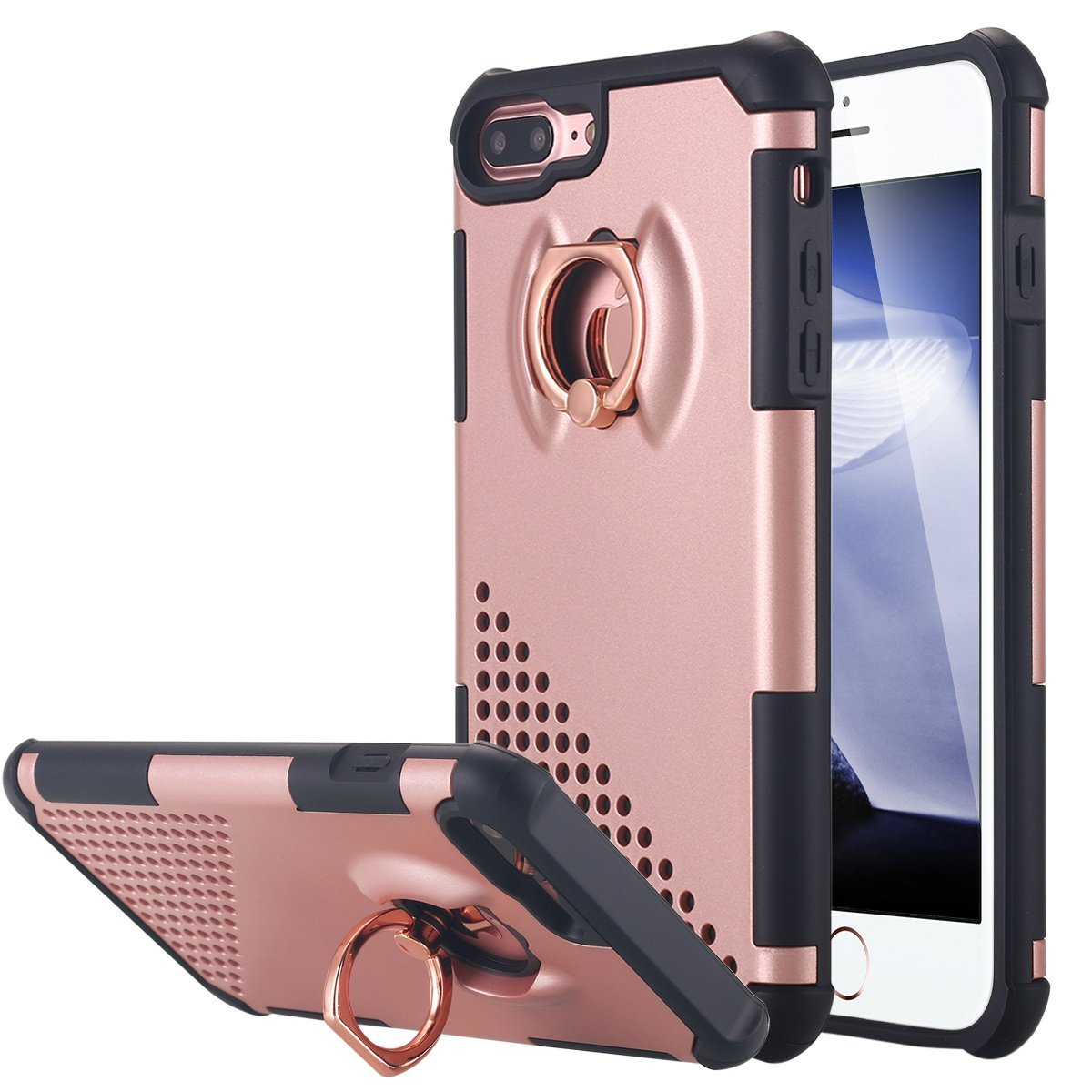 iPhone 7 Plus Case, LONTECT Dual Layer Shockproof Impact Protection Case with 360 Degree Rotating Ring Grip Holder Kickstand for Apple iPhone 7 Plus - Rose Gold