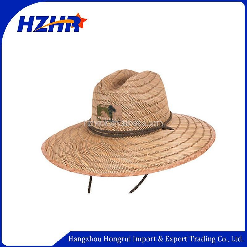 Atacado logotipo personalizado Borda Plana chapéu de palha da grama do mar  para a pesca de 6ae197b5cdd