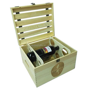 Alibaba hot sell cheap natural pine wood wine box for 6 bottles wooden wine crate