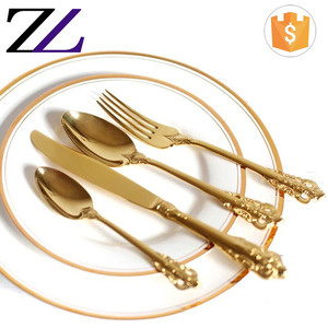 Golden buffet tableware restaurant 24pcs spoons forks knives stainless steel flatware kitchen royal gold plated cutlery sets