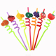 High quality spiral Fruit shaped plastic drinking straw