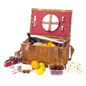 Free Sample Fabric Liners Cheap Handmade Craft Food Cooler Hampers Blanket Grey Rattan Wicker Willow Storage Picnic Basket Set
