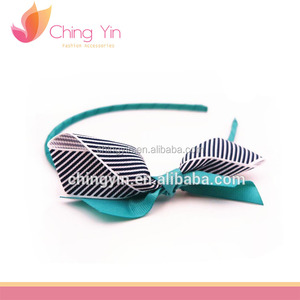 Fancy Ladies' Fashion Hair Accessories Striped Grosgrain Bow Tie Thin Headband Alice Band