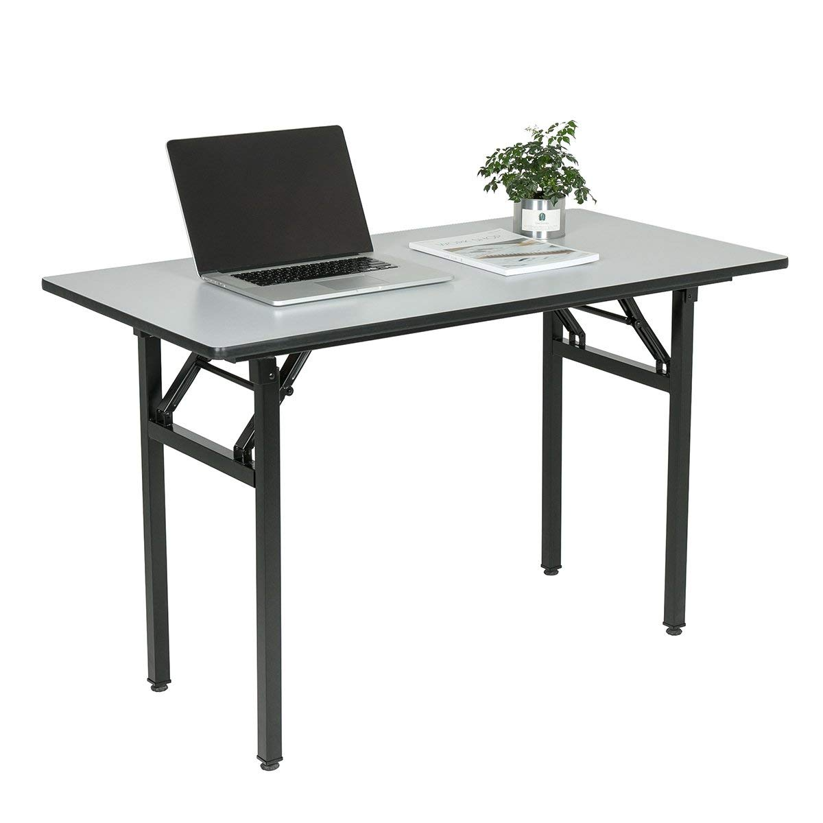 "Wove Computer Desk Office Desk Folding Table Computer Table Workstation No Install Neede (55"", Gray)"