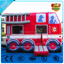 Good Selling Famous British Bus Fire Truck Inflatable Loco Bounce House For Sale