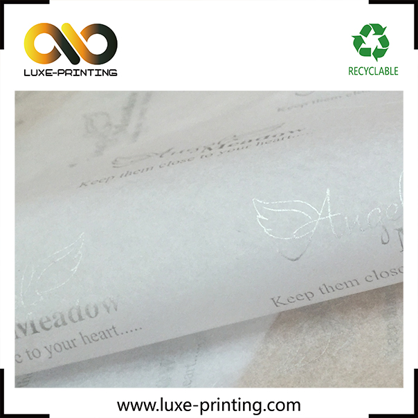 Cotton fiber snow white printed tissue paper for garment packing