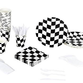 Custom Disposable Dinnerware Set Serves 24 Flag Party Supplies Race Car Themed Parties