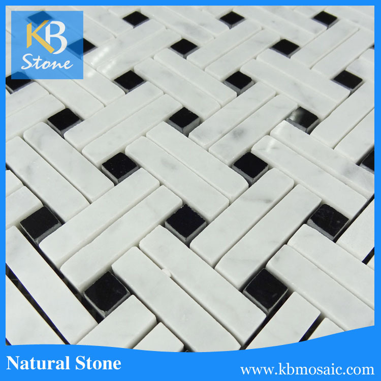 Basketweave imported cheap white carrara thassos marble tile price in india