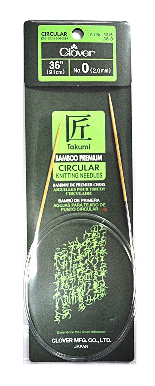 Clover Takumi Bamboo 36 Inch Circular Knitting Needle Size 0