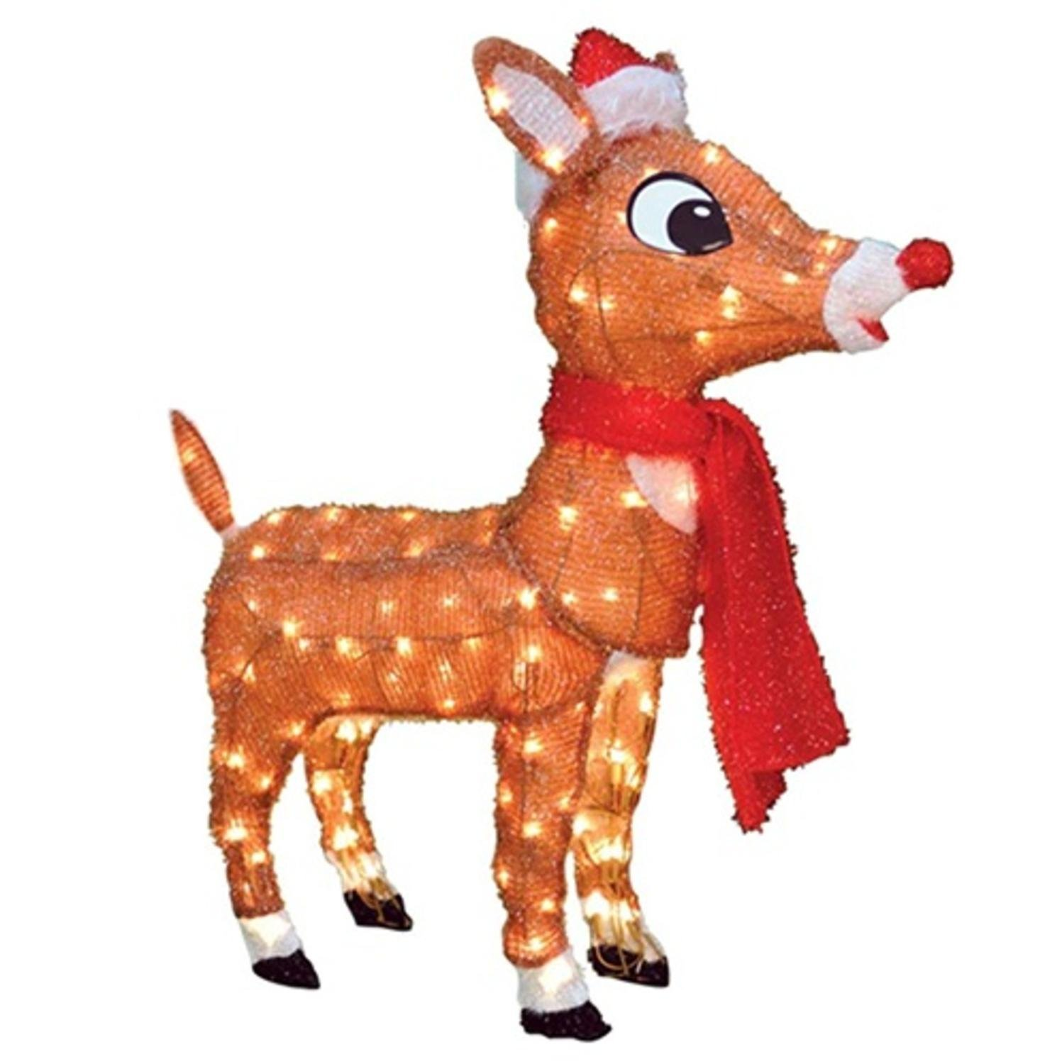 """productworks 32"""" Pre-Lit Soft Tinsel Rudolph the Red-Nosed Reindeer Christmas Yard Art Decoration - Clear Lights"""