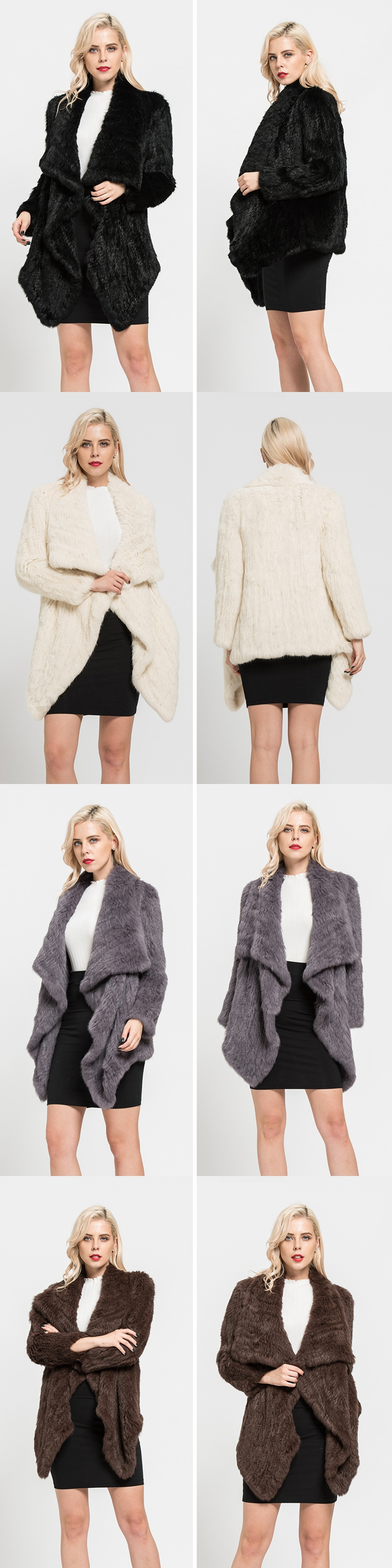 2019 Real Rabbit Fur Knitted Coats Top Quality Fashion Style For Female Winter Thick Warm Jacket S7114