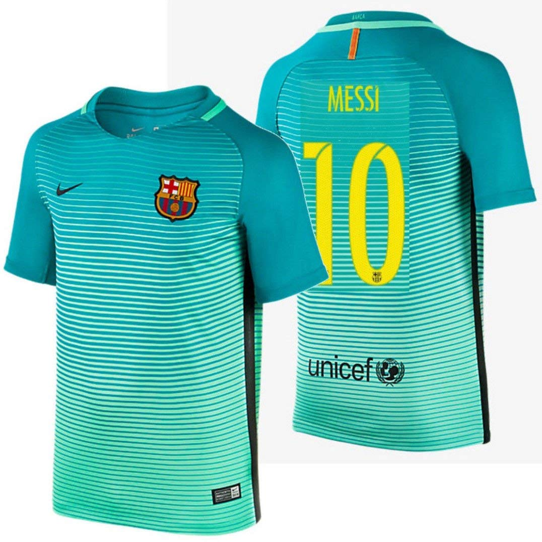 01cd61b5a18 Get Quotations · 2016 Messi  10 Barcelona Away Jersey   Shorts for Kids and  Youths Color Green