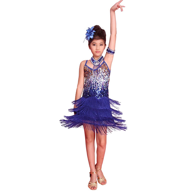 1b72c82e39dc6 Get Quotations · Jlong Girls Bling Sequined Dancewear Latin Salsa Rumba Tassel  Dance Dress