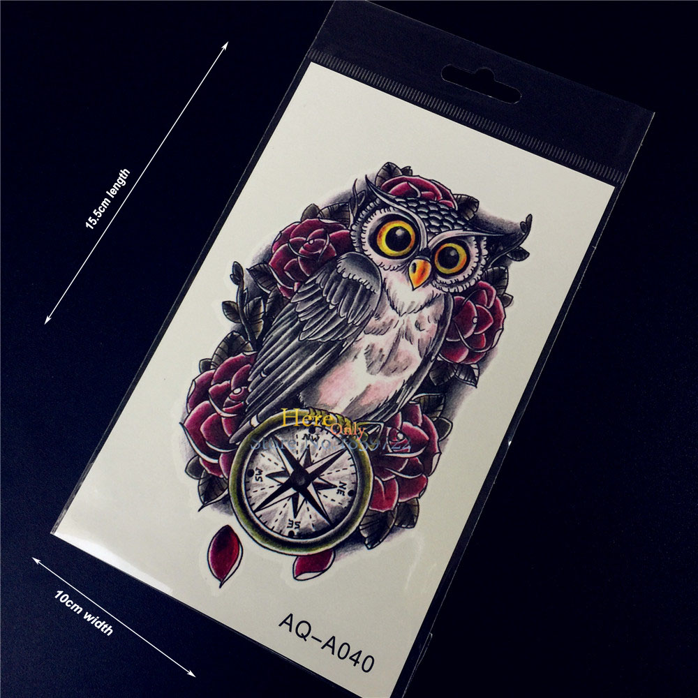 1PC Fashion Flash Temporary Tattoo Sticker Men Women Arm Shoulder Makeup Fake Tattoo Owl Compass Rose