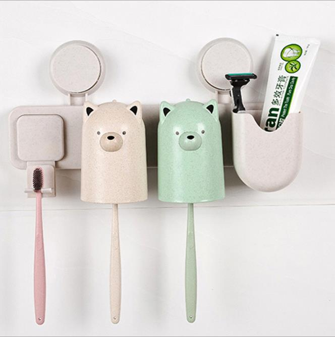 Cartoon Suction Toothbrush Storage Rack Family Wall-mounted Wash Cup Toothbrush Holder