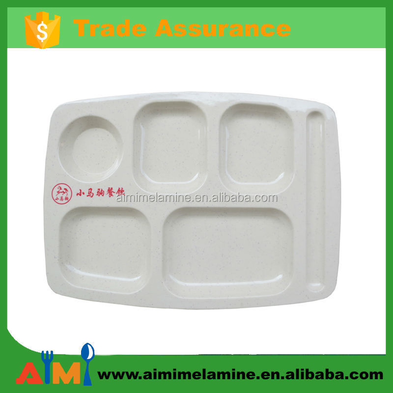 Melamine rectangle compartment melamine plate with dividers