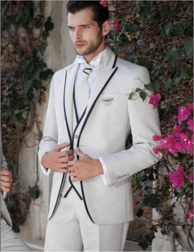 classic white black one button groom suits for wedding 2017 the best man suits for mens suits. Black Bedroom Furniture Sets. Home Design Ideas