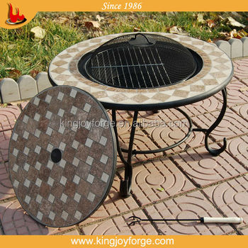 Outdoor Tile Charcoal Bbq Fire Pit Table