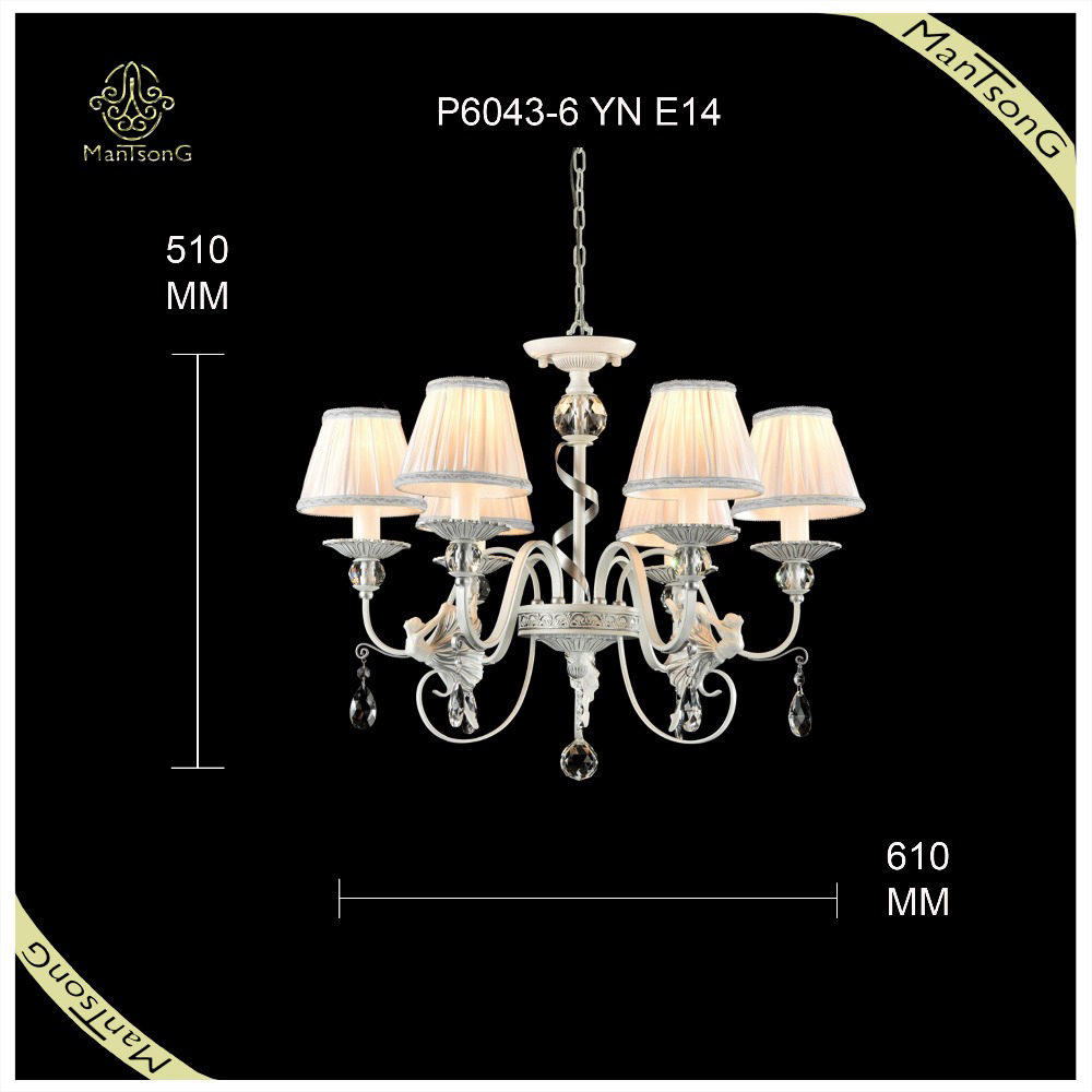 Luxury indoor lighting antique chandelier, fabric shades hanging chandelier