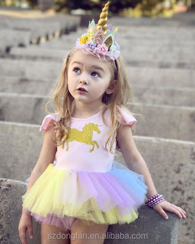 Baby Girls Unicorn Rainbow Birthday Party Tutu Dress