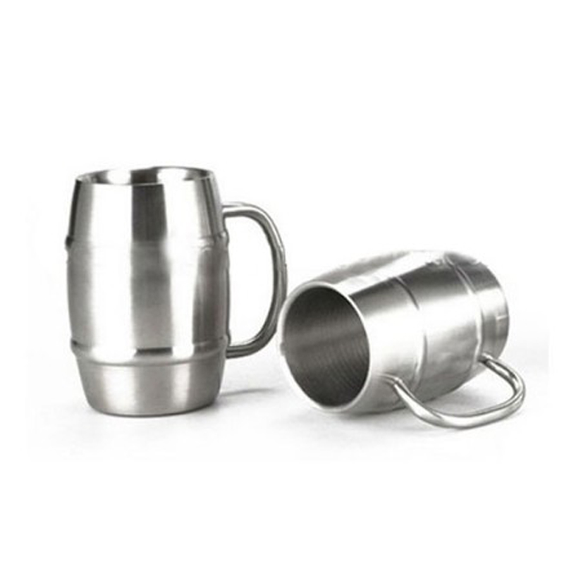 Oempromo double wall barrel shaped stainless steel beer mug with handle