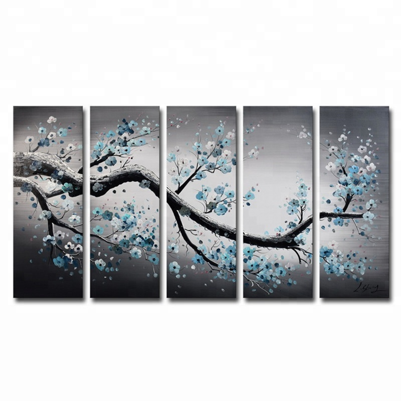 Ready To Hang 5 pcs Canvas Painting Birch Trees Oil Painting Landscape Painting